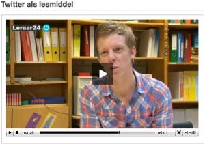 Leerkracht Sanne Kuyt in het filmpje over Twitter